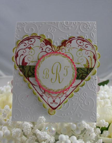 Flourishes - Pink & Green wedding Invitation Front