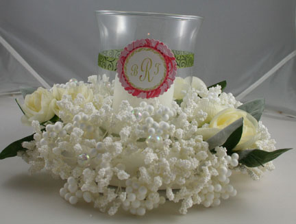 Flourishes - table centerpiece- pink and green