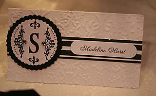 Closeup of Black and white place card