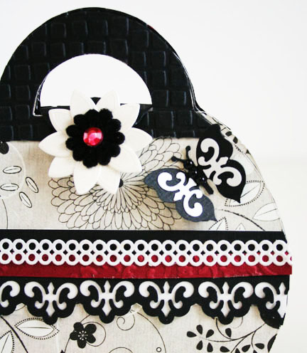 Close up of detail on Black And White purse