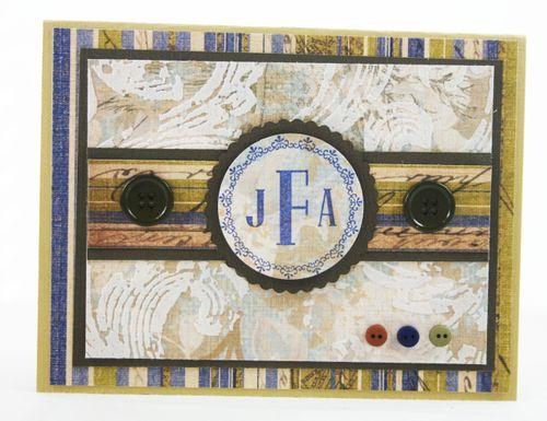 Masculine monogram card