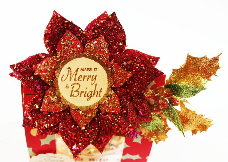 Close up of gala Glitz Poinsettia Treat Wrap
