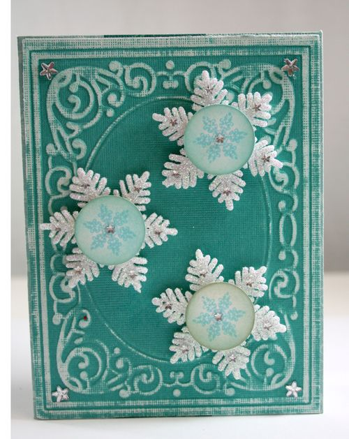 Teal Snowflake Christmas Card