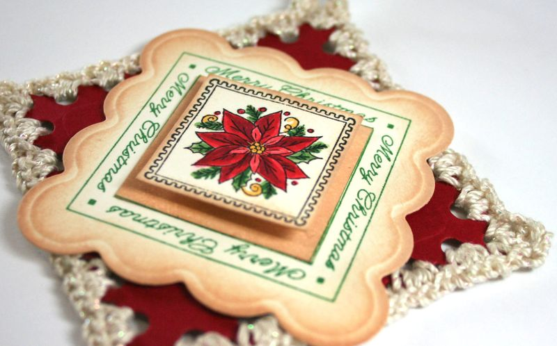 Close up ofBig Scallop  Crochet Ornament