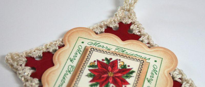 Very close up of Big Scallop Crochet Ornament