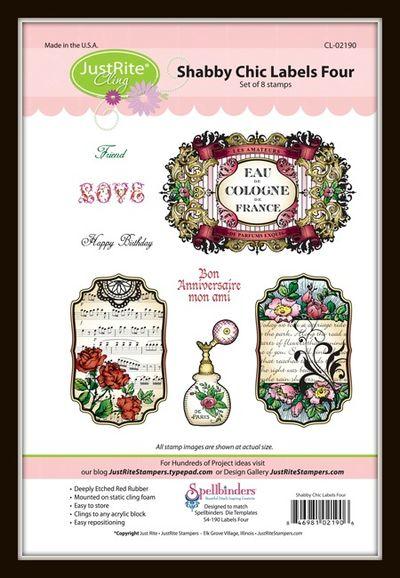 02190-lg Shabby Chic Labels Four Framed