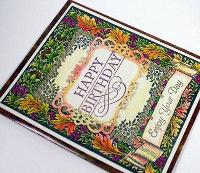 Close up of Floral Harvest Background Stamp