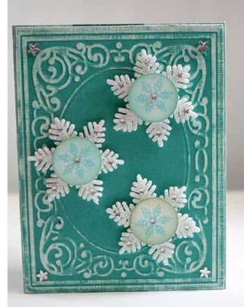 Teal Snowflake Christmas Card